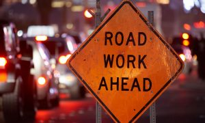 road work ahead stock image