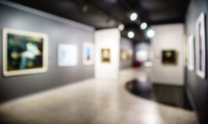 art gallery blurred stock image