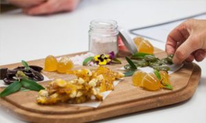 The winning confectionery creation, featuring medicinal lozenges flavoured with lemon myrtle, a bunye and boppal brittle, a quandong and burdekin plum sherbet, desert lime jubes and sour lollies from Davidson plums. Image courtesy of UQ