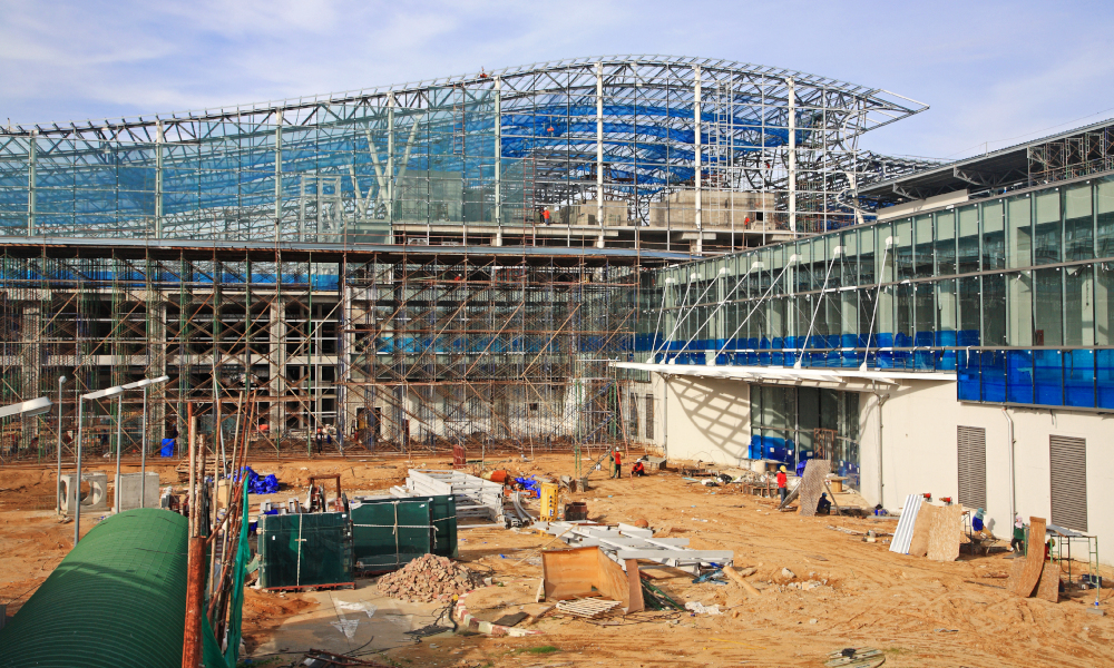 airport construction building stock image