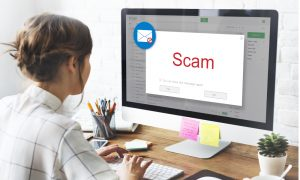 scam computer alert woman stock