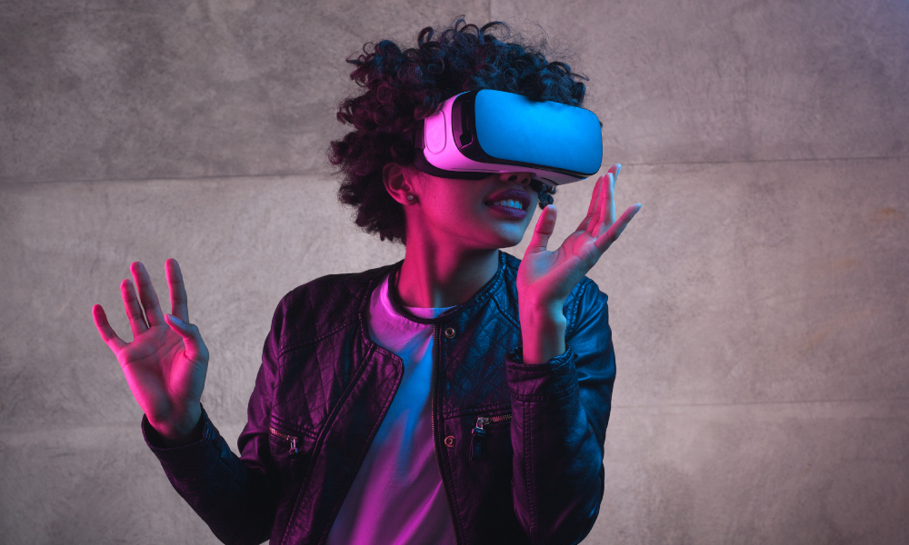 vr goggles girl stock image