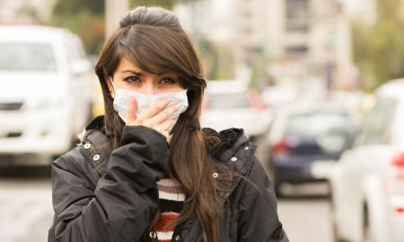 air pollution mask stock image