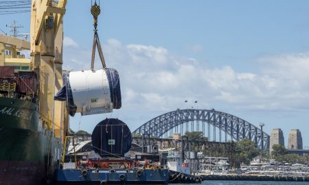 The tunnel boring machine (TBM), designed especially for the ground and rock conditions found at the bottom of Sydney Harbour, arrives at White Bay. Five TBMs will be used to deliver the tunnels between Chatswood and Sydenham for Sydney Metro City & Southwest.