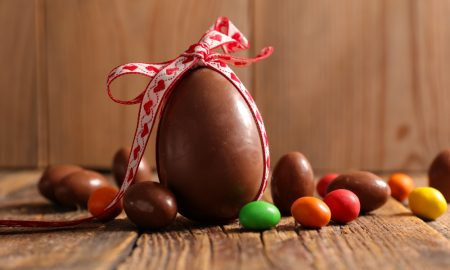 chocolate eggs easter stock image