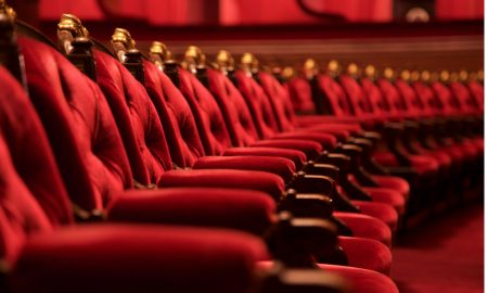 seats red opera row velvet stock