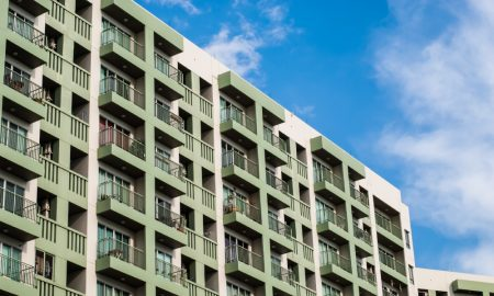 fence apartments stock image
