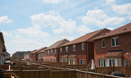 residential housing fences stock image