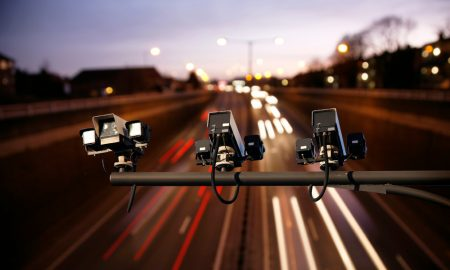 speed camera highway stock image