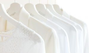 wardrobe hangers women stock image