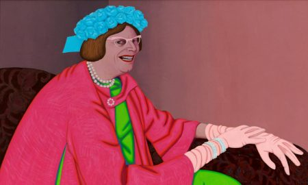 John Brack Barry Humphries in the character of Mrs Everage 1969 oil on canvas 94.5 x 128.2 cm. Purchased with funds provided by the Contemporary Art Purchase Grant from the Visual Arts Board of the Australia Council 1975. © Helen Brack. This work was a finalist in the 1969 Archibald Prize and was acquired by the Gallery in 1975.